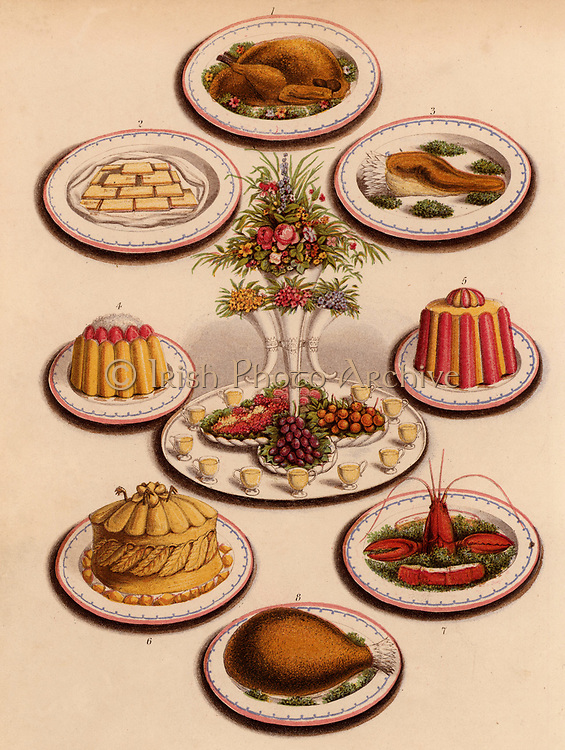 Sweet and savoury dishes for a buffet. The centrepiece is an epergne of flowers on a tray with fruit and custard glasses and a moulded jelly on either side.  Other dishes are a turkey, a ham, sandwiches, a boiled tongue, game pie with aspic jelly, and lobster. Chromolithograph from 'Cassell's Book of the Household' (London, c1895).