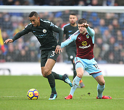 Danilo of Manchester City (L) and Johann Gudmundsson of Burnley in action - Mandatory by-line: Jack Phillips/JMP - 03/02/2018 - FOOTBALL - Turf Moor - Burnley, England - Burnley v Manchester City - English Premier League