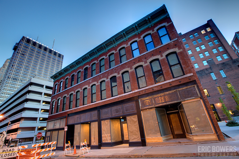 Wood's Building/Cosby Hotel Building in downtown Kansas City MO at 9th and Baltimore. Late 1800s structure saved from demolition in 2011 and renovated by Sunflower Development Group in 2011.