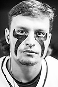 05/24/2015- Philadelphia, Penn. - Tufts attack Frank Hattler, A18, shows off his eye black in the locker room at Lincoln Financial Field before the NCAA Division III Men's Lacrosse National Championship Game on May 24, 2015. (Kelvin Ma/Tufts University)