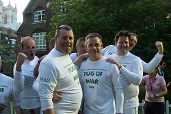 Westminster, London, June 6th 2016. MPs pose for a picture before their match against members of the House of Lords as teams from uk industry as well as the House of Commons and the House of Lords compete in the annual McMillan Cancer Charity tug o' war.