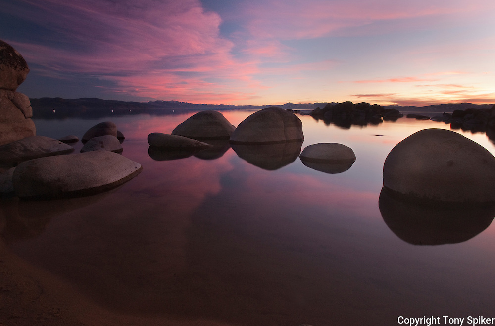 """Speedboat Beach Sunset 3"" - The sun sets over Lake Tahoe at Speedboat Beach, California"