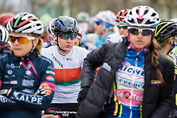 Alena Amialiusik waits for the race to begin in a cold, grey Siena - 2016 Strade Bianche - Elite Women, a 121km road race from Siena to Piazza del Campo on March 5, 2016 in Tuscany, Italy.
