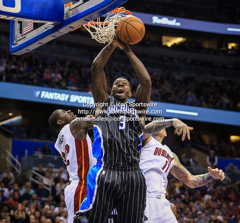 Nov. 22, 2014 - Orlando, FL, USA - The Orlando Magic's Dewayne Dedmon (3) loses the ball as he goes up to the basket during fourth-quarter action against the Miami Heat at Amway Center in Orlando, Fla., on Saturday, Nov. 22, 2014. The Heat won, 99-92.