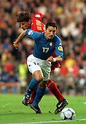 GIANLUCA ZAMBROTTA (ITALY).NICO VAN KERCKHOVEN (BELGIUM).ITALY V BELGIUM 14/06/00 (2-0) BRUSSELS.PHOTO ROBIN PARKER.