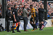 Newport Manager Michael Flynn congratulates  Newport  Joss Labadie (4) for being man of the match during the EFL Sky Bet League 2 match between Newport County and Yeovil Town at Rodney Parade, Newport, Wales on 7 October 2017. Photo by Gary Learmonth.
