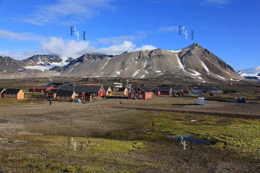 Summertime at the international science village of Ny-Alesund on Spitsbergen island in Kongsfjorden; Svalbard, Norway.