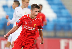 MADRID, SPAIN - Tuesday, November 4, 2014: Liverpool's Cameron Brannagan celebrates scoring the first goal against Real Madrid CF during the UEFA Youth League Group B match at Ciudad Real Madrid. (Pic by David Rawcliffe/Propaganda)