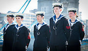 Sea Cadets away the start of the ceremony <br /> <br /> Armed Forces Day - City Hall ceremony pays tribute to British Armed Forces, London, Great Britain 25th June 2018 <br />  <br /> The Mayor of London and the London Assembly joined members of the British Armed Forces at City Hall today for a flag-raising ceremony to honour the courage and commitment of the Armed Forces community.<br /> The annual ceremony took place ahead of National Armed Forces Day, next Saturday, and was attended by members of the Forces as well as veterans, reserves, cadets and representatives from military charities. It is the 10th Armed Forces Day ceremony organised by the Mayor and London Assembly.<br /> <br /> The Mayor, Sadiq Khan and Chair of the London Assembly, Tony Arbour AM, joined senior military figures for the ceremony, which featured musical contributions from the Band of the Royal Yeomanry.<br />  <br /> Naval Commodore David Elford OBE, Army Colonel Victor Matthews OBE and Air Commodore David Prowse OBE from the Royal Air Force offered a joint military response.<br /> The Armed Forces flag was raised by Cadet Cpl Aaron Harmsworth and Cadet Charlotte McCarthy.<br /> <br /> Photograph by Elliott Franks