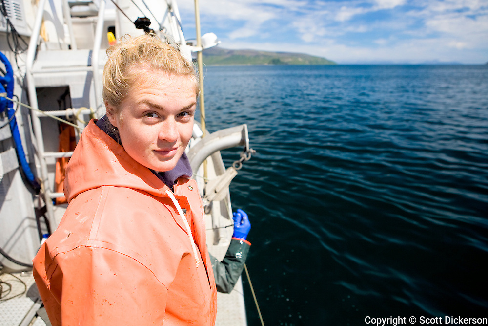 Emma Teal Laukitis commercial fishing for halibut in the Aleutian Islands area, Alaska.