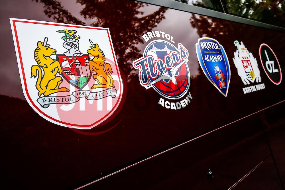 The new Bristol Sport team bus - Photo mandatory by-line: Rogan Thomson/JMP - 07966 386802 - 14/09/2014 - SPORT - RUGBY UNION - Leeds, England - Headingley Carnegie Stadium - Yorkshire Carnegie v Bristol Rugby - Greene King IPA Championship.
