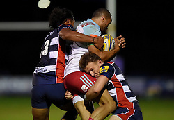 Thretton Palamo of Bristol United and Nick Carpenter of Bristol United tackle Aaron Morris of Harlequins A   - Mandatory by-line: Joe Meredith/JMP - 12/09/2016 - RUGBY - Clifton RFC - Bristol, England - Bristol United v Harlequins A - Aviva A League
