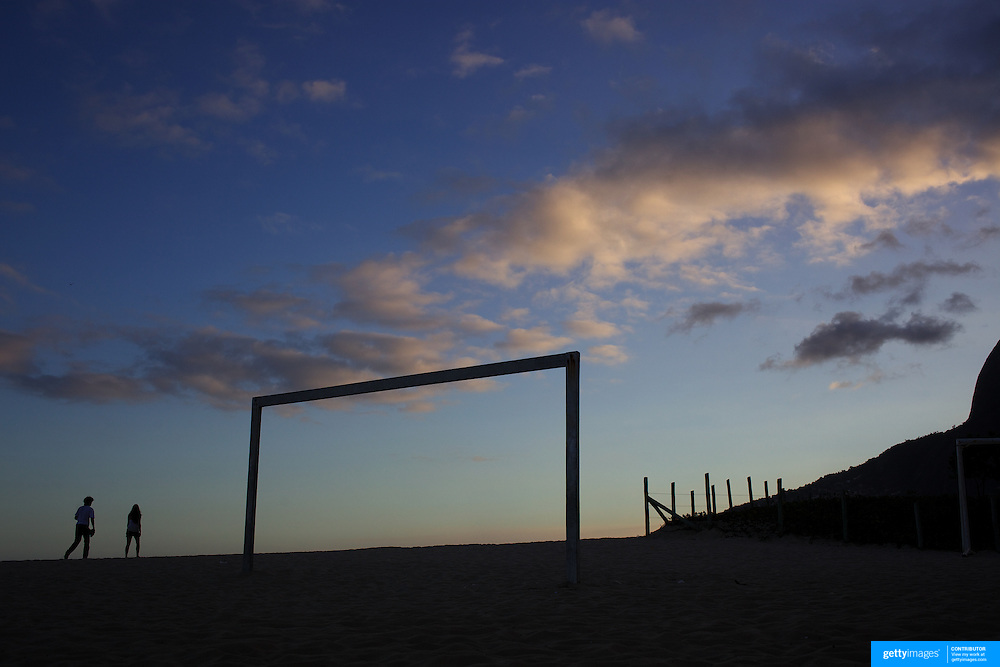 Football posts on Ipanema beach, Rio de Janeiro,  Brazil, during sunset on the 4th July 2010. Photo Tim Clayton....