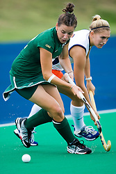 August 29, 2008 - CHARLOTTESVILLE, VA - William and Mary Tribe defender/midfielder Katie Broaddus (12) in action against UVA. The Virginia Cavaliers field hockey team defeated the William and Mary Tribe 5-0 on the University Hall Turf Field on the Grounds of the University of Virginia in Charlottesville, VA.
