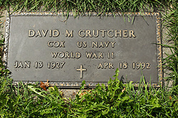 31 August 2017:   Veterans graves in Park Hill Cemetery in eastern McLean County.<br /> <br /> David M Crutcher Cox US Navy World War II Jan 13 1927 Apr 18 1992