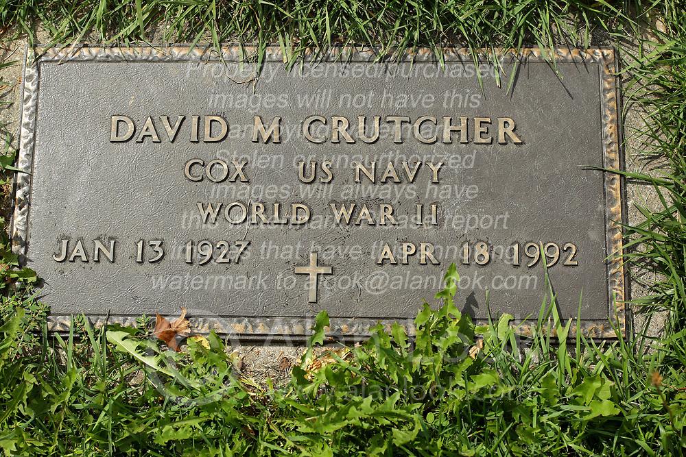 31 August 2017:   Veterans graves in Park Hill Cemetery in eastern McLean County.<br /> <br /> David M Crutcher Cox US Navy World War II Jan 13 1927 Apr 18 1992