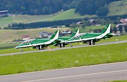 """01.07.2011, Fliegerhorst Hinterstoisser, Zeltweg, AUT, AIRPOWER 2011, im Bild Royal Saudi Hawks beim Start während der ,,Airpower 11"""" Flugshow in Zeltweg, Österreich. // Royal Saudi Hawks take off during the """"Airpower 10"""" air show on the Air Base Hinterstoisser in Zeltweg, Austria on 2011/07/01, EXPA Pictures © 2011, PhotoCredit: EXPA/ J. Feichter"""