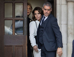 © Licensed to London News Pictures. 26/02/2020. London, UK. PRINCESS HAYA BINT AL HUSSEIN leaves the Court of Appeal in London surrounded by her security team and her legal representative Baroness Fiona Shackleton (L). Sheikh Mohammed bin Rashid Al Maktoum and his wife Princess Haya Bint Al Hussein are in legal dispute over custody of their children. Princess Haya Bint Al Hussein has applied for a protection order and is seeking wardship of her children. Photo credit: Peter Macdiarmid/LNP