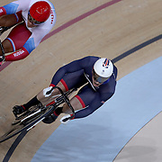 Track Cycling - Olympics: Day 8  Denis Dmitriev #143 of Russia and Jason Kenny #101 of Great Britain in action in the Men's Sprint Semifinals during the Women's Team Pursuit Final during the track cycling competition at the Rio Olympic Velodrome August 12, 2016 in Rio de Janeiro, Brazil. (Photo by Tim Clayton/Corbis via Getty Images)