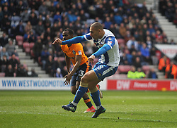James Vaughan of Wigan Athletic scores his sides second goal - Mandatory by-line: Jack Phillips/JMP - 30/03/2018 - FOOTBALL - DW Stadium - Wigan, England - Wigan Athletic v Oldham Athletic - Football League One