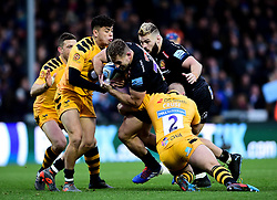 Jacob Umaga of Wasps tackles Sam Hill of Exeter Chiefs with Tom Cruse of Wasps  - Mandatory by-line: Ryan Hiscott/JMP - 30/11/2019 - RUGBY - Sandy Park - Exeter, England - Exeter Chiefs v Wasps - Gallagher Premiership Rugby