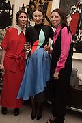 VALERIA NAPOLEONE; ROKSANDA ILINCIC; STEFANIA PRAMMA;, Stefania Pramma launched her handbag brand PRAMMA  at the Kensington residence of her twin sister, art collector Valeria Napoleone.. London.  29 April 2015
