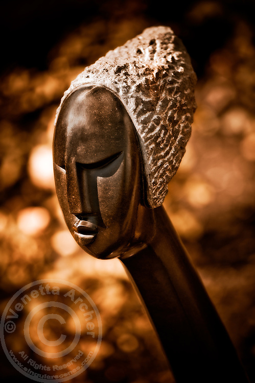 Zimsculpt at Van Dusen Botanical Garden: First Wife - springstone sculpture by Rufaro Ngoma (original sculpture available at www.zimsculpt.com)