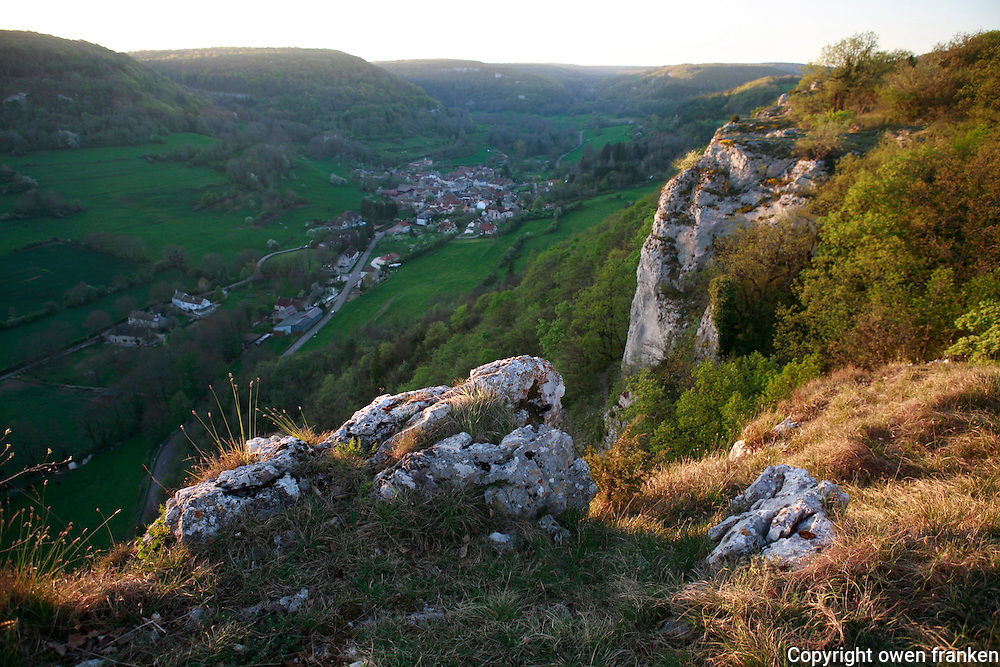 view into a valley from a cliff in Burgundy, France