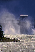 Image of fishing along the Bonneville Dam along the Oregon-Washington Columbia River Gorge, Pacific Northwest