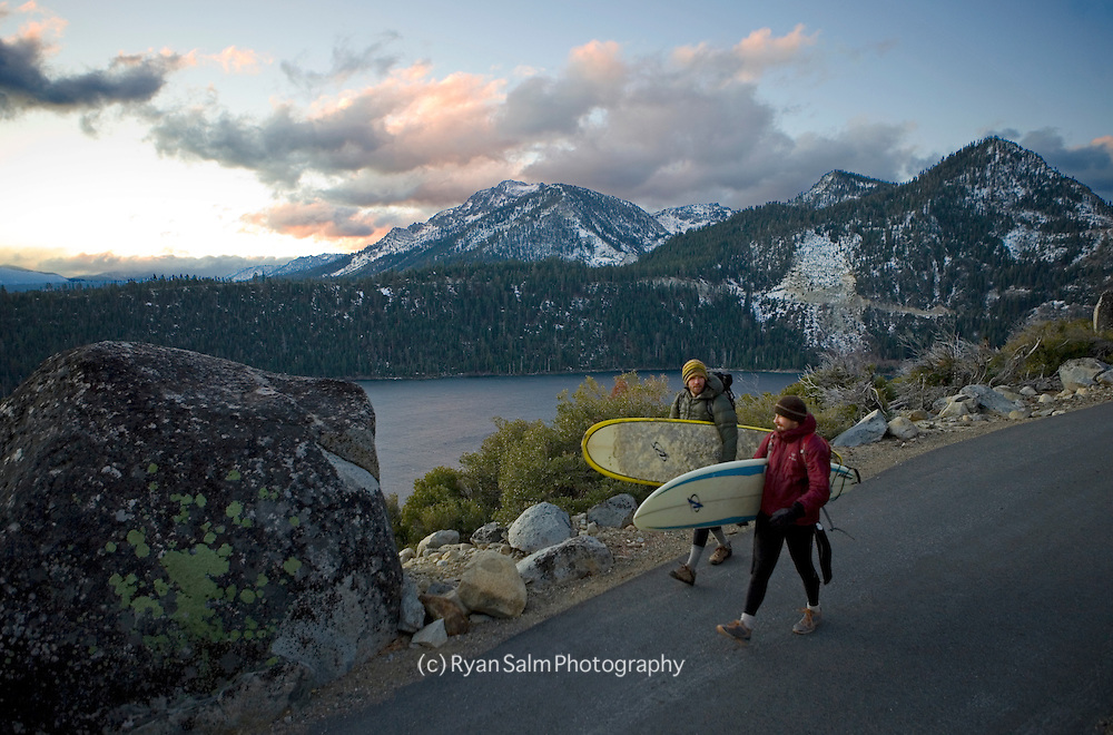 Jeff Dostie and Brennan Lagasse make an early winter attempt at surfing the mouth of Emerald Bay.