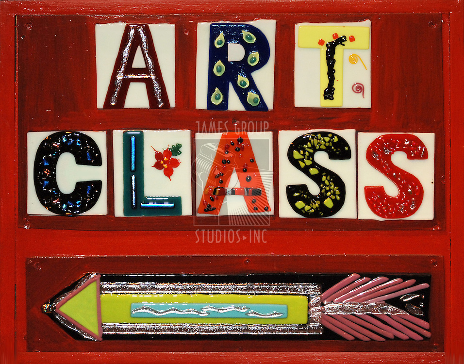 "signs that sayss "" Art Class"" using ceramic tiles on a red, painted wooden sign"