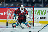 KELOWNA, CANADA - MARCH 10: James Porter #1 of the Kelowna Rockets makes a save against the Kamloops Blazers  on March 10, 2018 at Prospera Place in Kelowna, British Columbia, Canada.  (Photo by Marissa Baecker/Shoot the Breeze)  *** Local Caption ***