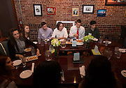 "Ohio University students participate in the Homecoming ""Dinner with 12 Strangers"" event at Sol on Oct. 8, 2014. Photo by Lauren Pond"