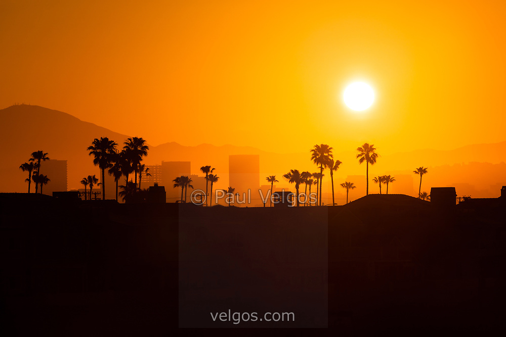 Newport Beach skyline sunrise in Orange County Southern California. Picture includes Newport Beach office buildings in Fashion Island, palm trees and mountains.
