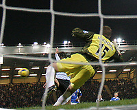 Photo: Lee Earle.<br /> Portsmouth v Chelsea. The Barclays Premiership.<br /> 26/11/2005. Chelsea's Hernan Crespo beats Pompey keeper Jamie Ashdown to open the scoring.