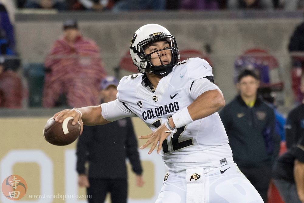 December 2, 2016; Santa Clara, CA, USA; Colorado Buffaloes quarterback Steven Montez (12) passes the football against the Washington Huskies during the second quarter in the Pac-12 championship at Levi's Stadium.