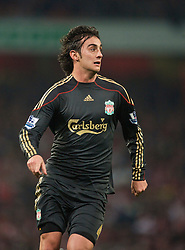 LONDON, ENGLAND - Wednesday, October 28, 2009: Liverpool's Alberto Aquilani during the League Cup 4th Round defeat by Arsenal at Emirates Stadium. (Photo by David Rawcliffe/Propaganda)