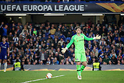 Chelsea FC goalkeeper Kepa Arrizabalaga (1) appeals to the fans after they kept the ball causing him to get a yellow card during the Europa League quarter-final, leg 2 of 2 match between Chelsea and Slavia Prague at Stamford Bridge, London, England on 18 April 2019.