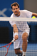 Brisbane, Australia, December 30: Tommy Haas of Germany plays a forehand shot close to the net during a training session at Pat Rafter Arena ahead of the 2012 Brisbane International Tennis Tournament in Brisbane, Australia on Friday December 30th, 2011. (Photo: Matt Roberts/Photo News)