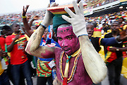 Ghanian 'Ju-Ju' medicine man casting spells over the Moroccan opposition during halftime.  Ghana V Morocco. African Cup of Nations 2008. Ohene Djan Stadium. Accra. Ghana. West Africa..28th January 2008..©Picture Zute Lightfoot.  07939 108077. www.lightfootphoto.co.uk