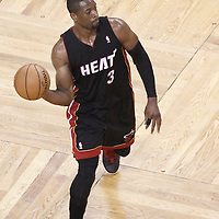 01 June 2012: Miami Heat shooting guard Dwyane Wade (3) passes the ball during the first half of Game 3 of the Eastern Conference Finals playoff series, Heat vs Celtics, at the TD Banknorth Garden, Boston, Massachusetts, USA.