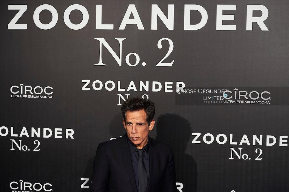 Ben Stiller attend 'Zoolander No. 2' film premiere at Capitol Cinema on February 1, 2016 in Madrid, Spain