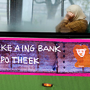 Nederland Rotterdam 14 november 2008 20081114 Foto: David Rozing ..Reclame slogan van ING bank op RET bus in het centrum van Rotterdam: Take a ING Bank hypotheek It's good! Consumtenvertrouwen economie..Foto David Rozing