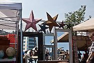 New York, Williamsburg. the sunday flea market on east river side east river park former -North piers