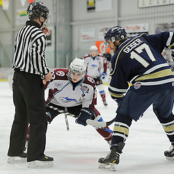 "FORT FRANCES, ON - Apr 29, 2015 : Central Canadian Junior ""A"" Championship, game action between the Toronto Patriots and the Dryden GM Ice Dogs, game three of the Dudley Hewitt Cup, Cole Golka #22 of the Dryden GM Ice Dogs and Nicholas Geiser #17 of the Toronto Patriots during the face-off <br /> (Photo by Amy Deroche/ OJHL Images)"