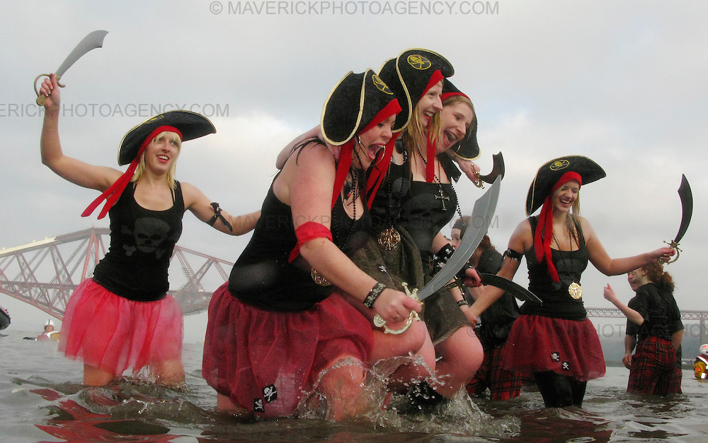 People brave the freezing cold water of the Firth of Forth at South Queensferry, just a few miles out of the Scottish capital for the annual Loony Dook. Some claim that the shock to the system of the Dook is the perfect hangover cure after the excesses of the huge Hogmanay street party in Edinburgh of the night before.
