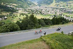 Pauliena Rooijakkers (NED) and Leah Kirchmann (CAN) climb on Stage 5 of 2019 Giro Rosa Iccrea, a 88.8 km road race from Ponte in Valtellina to Lago di Cancano, Italy on July 9, 2019. Photo by Sean Robinson/velofocus.com