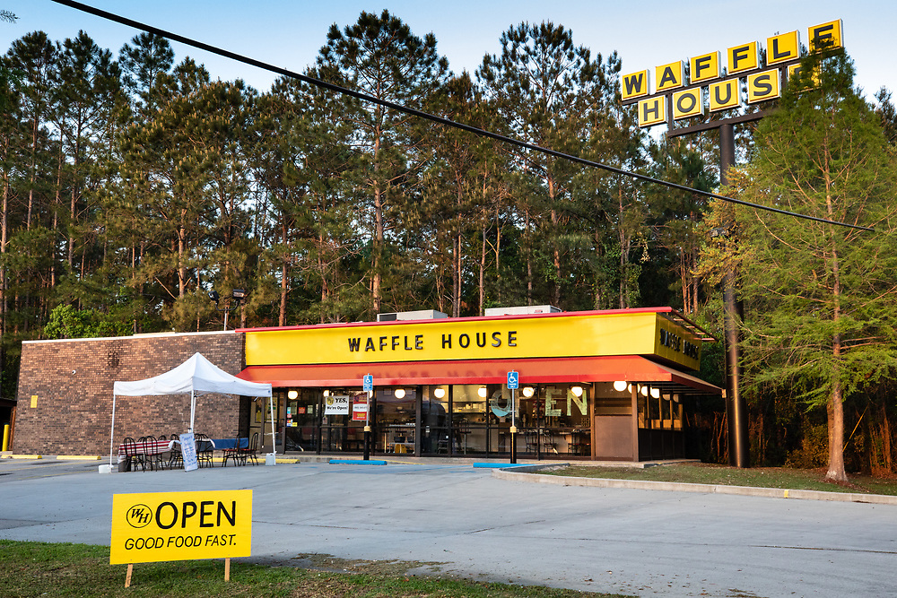 Waffel house in Slidell  LA  on Brownswitch Rd, now only serving take out only due to coronavirus pandemic.