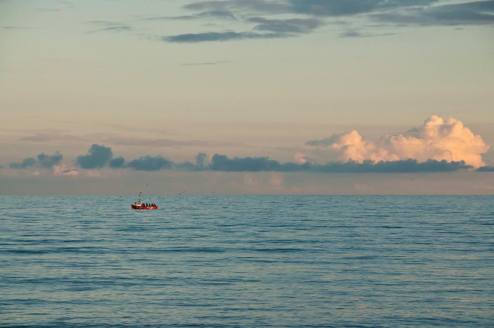 A boat at sea, Lyme Regis