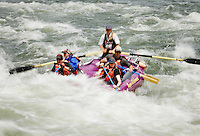 Group paddling through white water rapids on the Rogue River in a purple inflatable raft. Oregon, USA.<br />